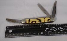 """Vintage Pocket Knife Western Boulder CO Mottled Handle 4"""" Used 3 Blades"""