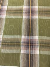 Plaid moire fabric by the yard kakhi green purple 1.5yard piece