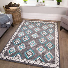 Modern Kilim Rug | Blue Aztec Geometric Rugs | Cheap Rugs For Living Room | NEW