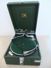 More details for rare green vintage hmv 102 portable gramophone with removable disc carrier – ex.