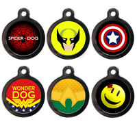Pet Tags Personalised Superhero Dog Cat Name ID Tag Disc Identity Engraved FREE