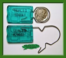 ACRYLIC SECURITY SEALS, PADLOCK-STYLE, LARGE-SHACKLE, GREEN, 100 QUALITY SEALS