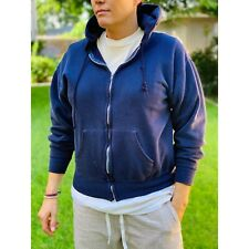Vtg 80s 90s Supersoft Hoodie, Full Zip, Deep Blue Heather, Killer Fade, 50/50 L