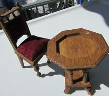 Schneegas Miniature Antique Dollhouse Furniture Table Set Carved Wood Velvet