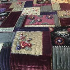 Pottery Barn Velvet & Silk Patchwork Crazy Quilt Full Queen Embroidered Rare