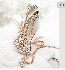 Betsey Johnson Necklace Guitar Gold Pearl Guitar Crystals Bling Classy