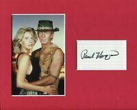 Paul Hogan Crocodile Dundee Signed Autograph Photo Display With Linda Kozlowski