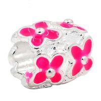 v.2 Silver Plate Pink Enamel Cherry Blossom Flowers Euro Charm Bead fit Bracelet