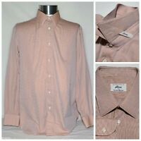 Brioni for Neiman Marcus Long Sleeve Dress Shirt Salmon Made in Italy Sz Large