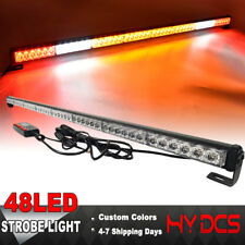 "47"" 48 LED Strobe Lights Bar Emergency Warning Flash Traffic Red White Amber 12V"