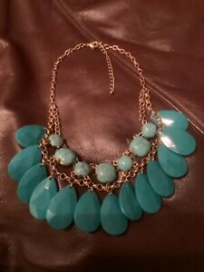 Faux Turquoise and Dangle  Gold Tone Choker Bib Necklace