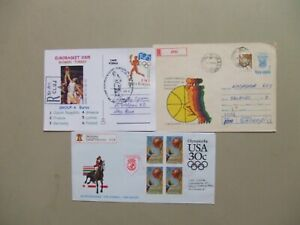 Three BASKETBALL registered express covers:US aerogram w/block of four,Romania
