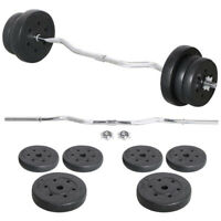 23.5kg EZ Curl Bent Bar Dumbbell Barbell Weights Set Workout Triceps Biceps
