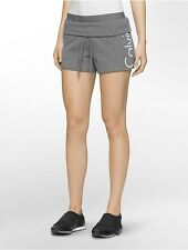 New CALVIN KLEIN Performance Womens Slim Fit Cutoff Workout Shorts PF6S8799 Gray