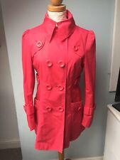 Pink Fushia Rain Mac Marks And Spencer Size 10 Button Coat Jacket Limited