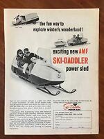 Vintage 1966 Original Print Ad AMF SKI-DADDLER Power Sled Snowmobile
