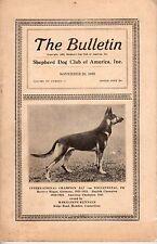 Vintage Shepherd Dog Club of America, Inc, The Bulletin, November 1925