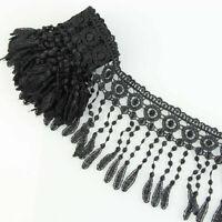 3 Yards Black Flower Lace Fringe Applique Fabric Lace Sewing Belt Decor Trims
