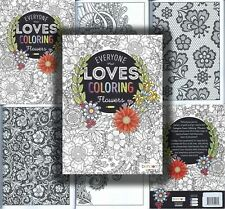Adult Everyone Loves Flowers Coloring Book Stress Relief Relaxation Clean