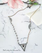 Stunning white crystal cluster & grey pearl vintage statement sweater necklace