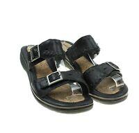 Hush Puppies Womens Black Leather Adjustable Strap Slides Open Toe Sandals Sz 9