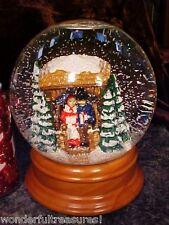 MUSICAL CHRISTMAS Water Snow Globe Ball WOOD Base Couple Gazebo NIGHT LIGHT Too!