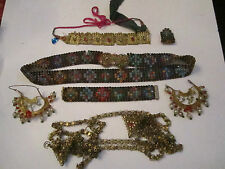 VINTAGE INDIAN JEWELRY COLLECTION- METAL BASED WITH CRYSTALS - VERY NICE - TUB E