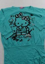 T0505 Hello Kitty T SHirt Longshirt Kinder Mädchen Grün Print Langarm Gr.152 158