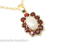 9ct Gold Opal and Garnet Pendant and Chain Made in UK Gift Boxed
