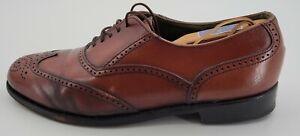 Vintage Bostonian Men's Brown Leather Almond Toe Brogue Dress Shoes Size 8.5