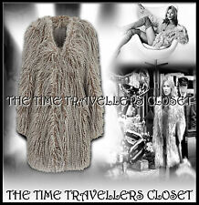 Kate Moss Topshop Grey Shaggy Faux Mongolian Fur Groupie Coat Jacket UK 10 12 14