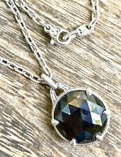 Judith Ripka Sterling Silver Faceted Black Onyx Round Pendant Necklace 925