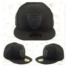 Oakland RAIDERS Custom Black On Black Fitted Cap
