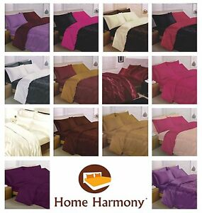 6 piece Satin Complete Bedding Set Silky Duvet Cover Fitted Sheet 4 Pillowcases