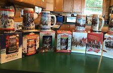 13 Holiday Budweiser Steins  Series A B C  Also 95,96,98, 2001,12,13,14 in box