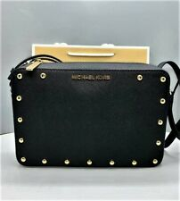 ORIGINAL Michael Kors EW Sandrine Stud Crossbody Bag Black Leather Top Zip