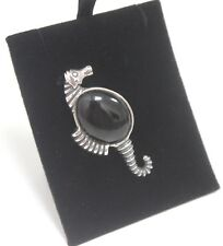 Brooch 925 Sea Horse with Black Onyx Animal Silver Jewellery 12g Ladies Gift