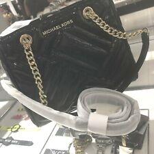 Michael Kors Peyton Womens Medium Leather Shoulder Tote Bag Handbag Purse Black
