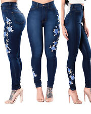 Gamiss Women Floral Embroidery High Waist Jeans Skinny Denim Pants Trousers