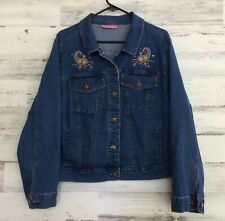 WOMEN WITHIN DENIM JEAN JACKET EMBROIDERED LADIES 14/16 ?