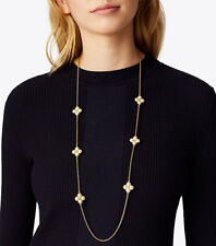 Tory Burch Gold Tone Rope Clover Rosary Necklace