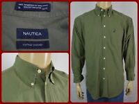 Nautica Army Green Oxford Mens Dress Casual Shirt 16-32/33 Office Work Wear