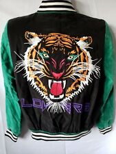 Lovers + Friends Womens Bomber Jacket Tiger Embroidered Jeweled Cupro/Rayon XS