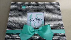 Tiffany Bling Guest Book Set - Quinceanera Sweet 16 Guestbook Sign Bow Pen Blue