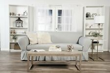 Ruffled Cotton sofa Slipcover 2 pc GRAY