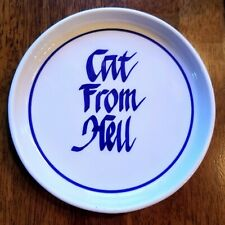 """Ceramic """"Cat From Hell"""" Dish, Blue and White, 6.5"""" by Clay Design"""
