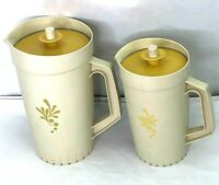 Vintage Tupperware Lot of 2 Almond Pitchers Harvest Gold Decorated 800-1 & 874-7