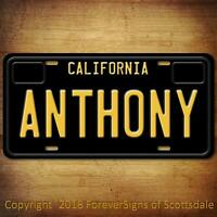 Anthony California Name License Plate Aluminum Vanity Tag