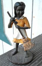 """""""African-American Young Girl"""" Sweeping Figurine """" 6-1/2"""" Tall Has No Label"""