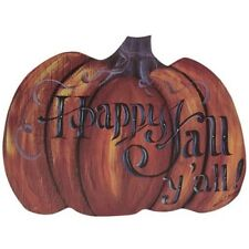 New Primitive Rustic Farmhouse Chic HAPPY FALL Y'ALL PUMPKIN Wall Hanging Sign